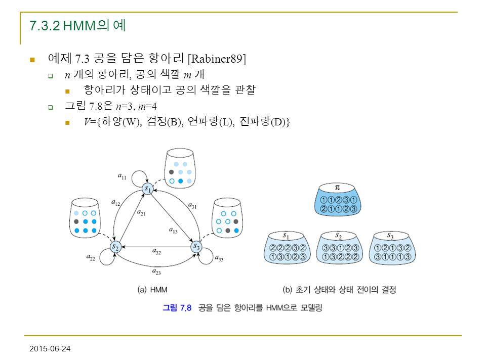 7.3.2 HMM의 예 예제 7.3 공을 담은 항아리 [Rabiner89] n 개의 항아리, 공의 색깔 m 개
